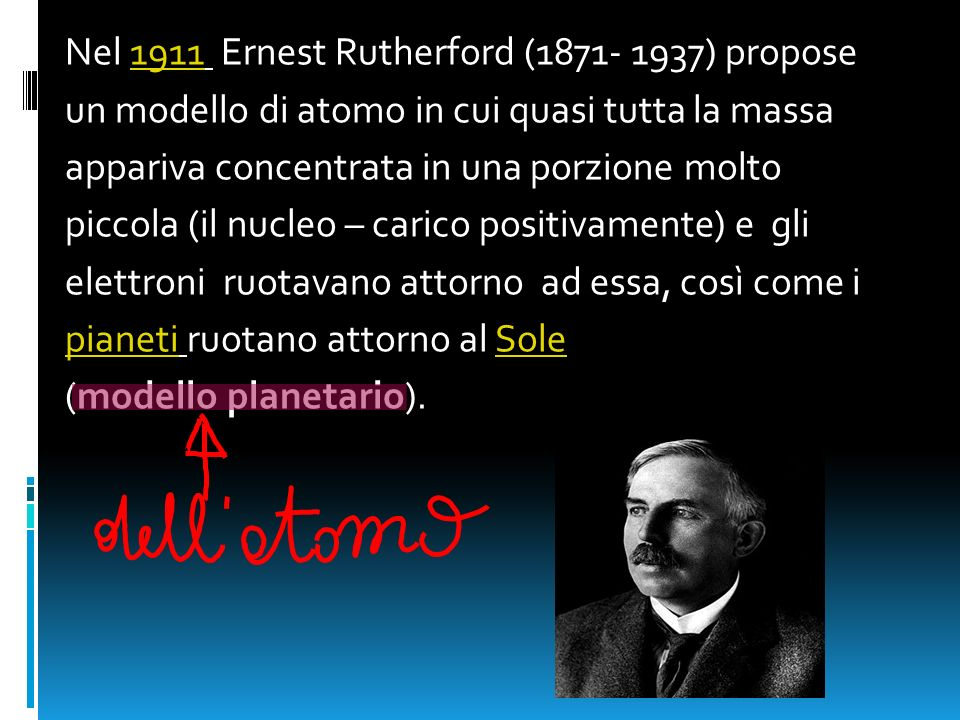 Nel 1911 Ernest Rutherford (1871- 1937) propose