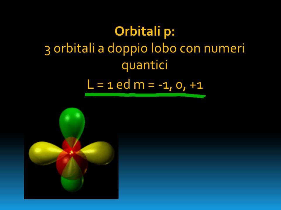 Orbitali p: 3 orbitali a doppio lobo con numeri quantici