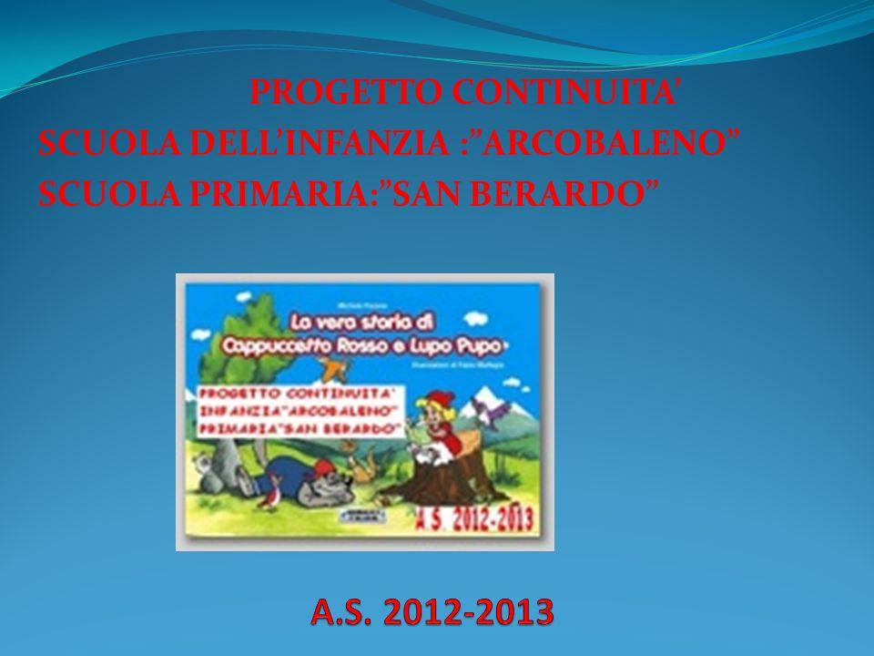 A.S. 2012-2013 PROGETTO CONTINUITA' SCUOLA DELL'INFANZIA : ARCOBALENO