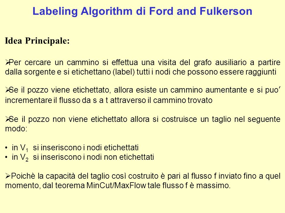 Labeling Algorithm di Ford and Fulkerson