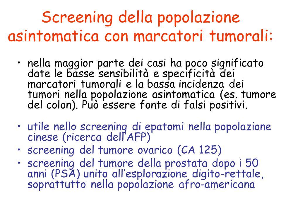 Screening della popolazione asintomatica con marcatori tumorali:
