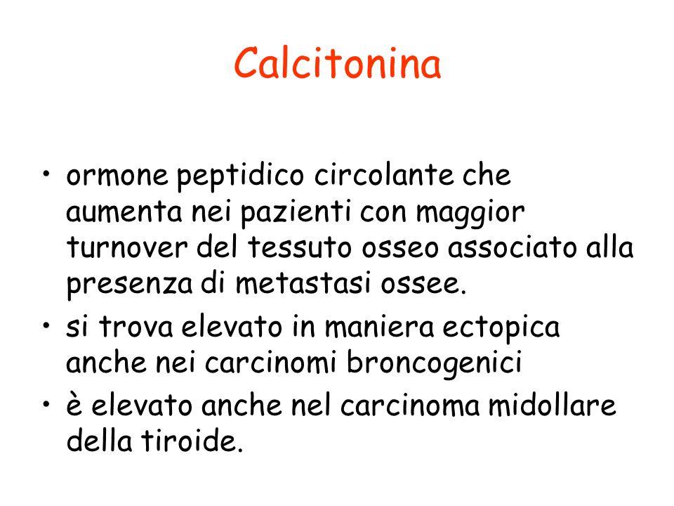 Calcitonina ormone peptidico circolante che aumenta nei pazienti con maggior turnover del tessuto osseo associato alla presenza di metastasi ossee.
