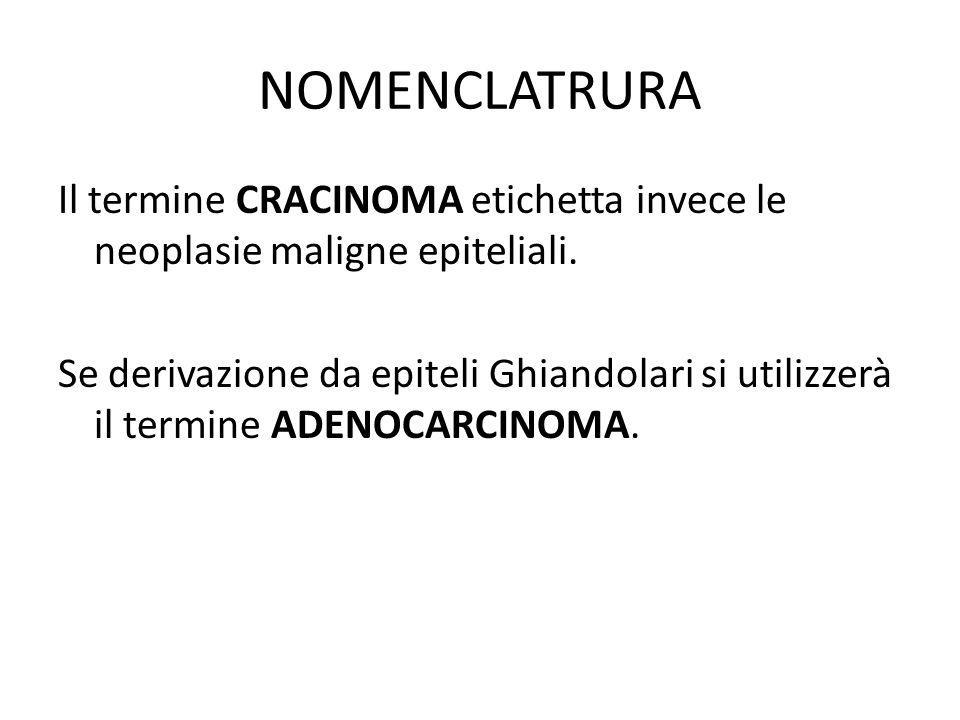 NOMENCLATRURA Il termine CRACINOMA etichetta invece le neoplasie maligne epiteliali.