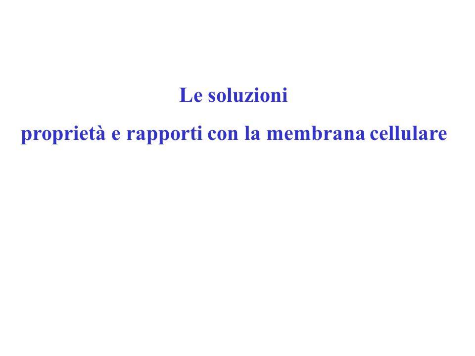 Le soluzioni proprietà e rapporti con la membrana cellulare