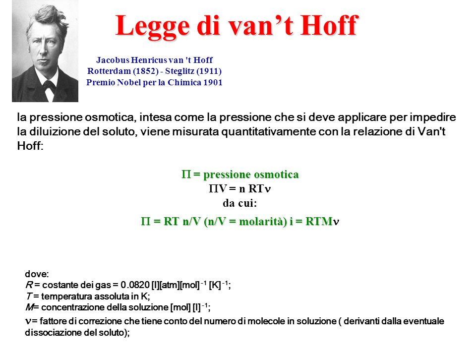 Legge di van't Hoff Jacobus Henricus van t Hoff. Rotterdam (1852) - Steglitz (1911) Premio Nobel per la Chimica 1901.