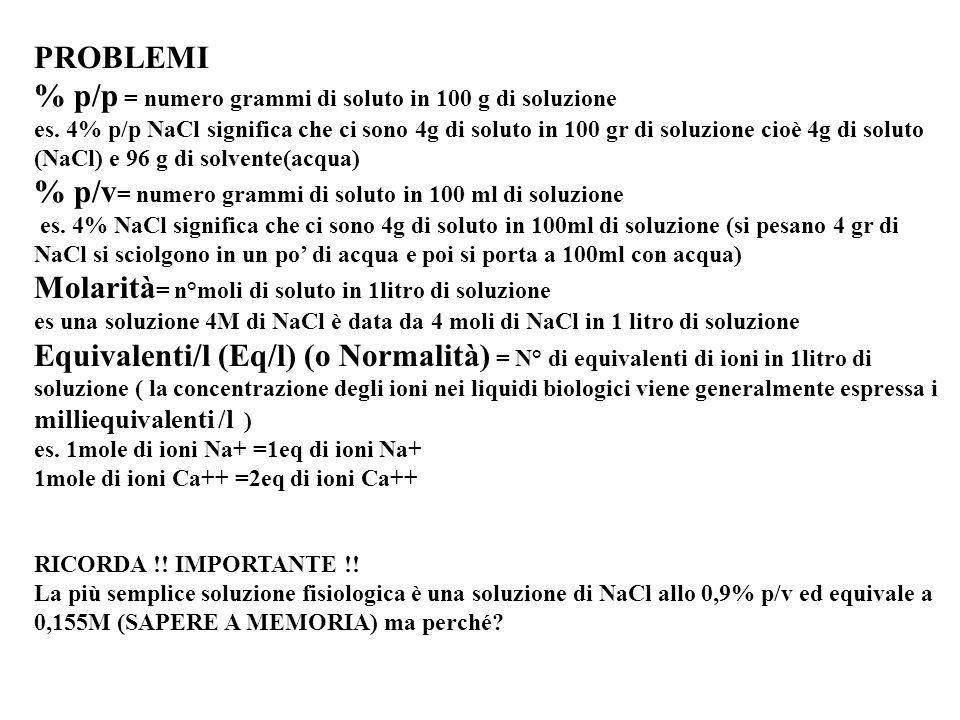 % p/p = numero grammi di soluto in 100 g di soluzione