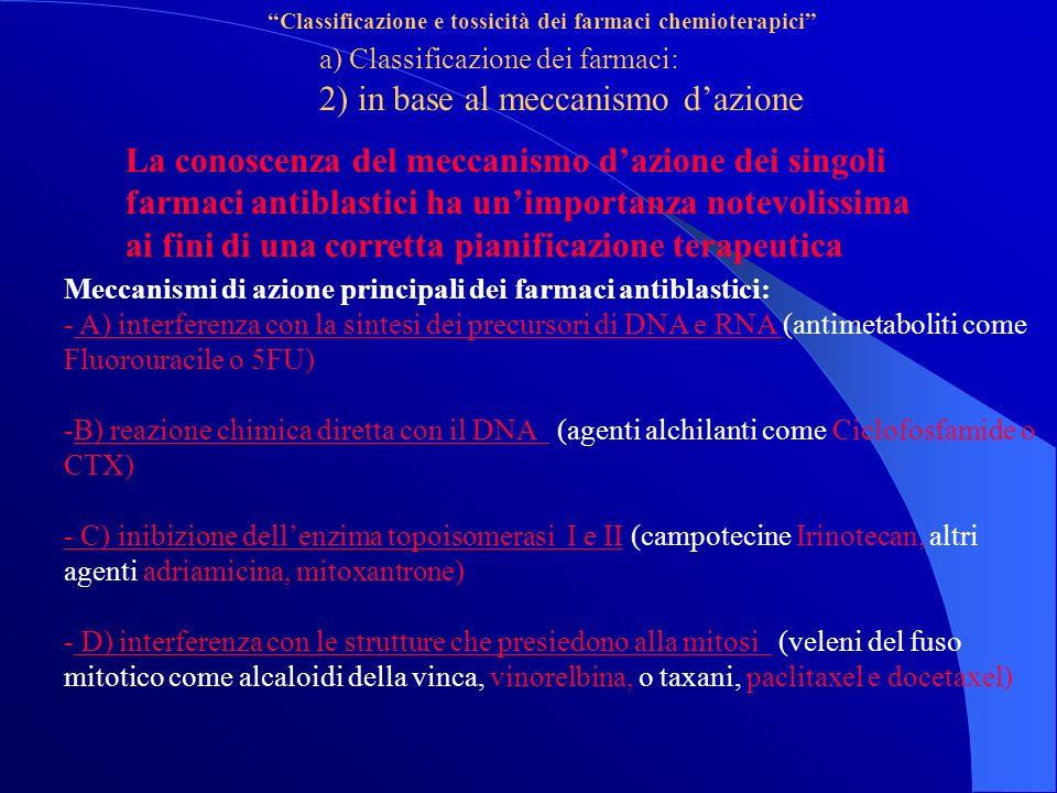 Classificazione e tossicità dei farmaci chemioterapici