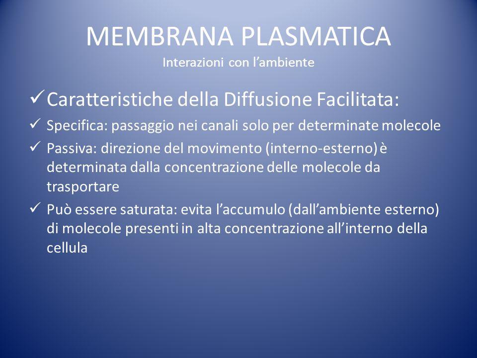 MEMBRANA PLASMATICA Interazioni con l'ambiente