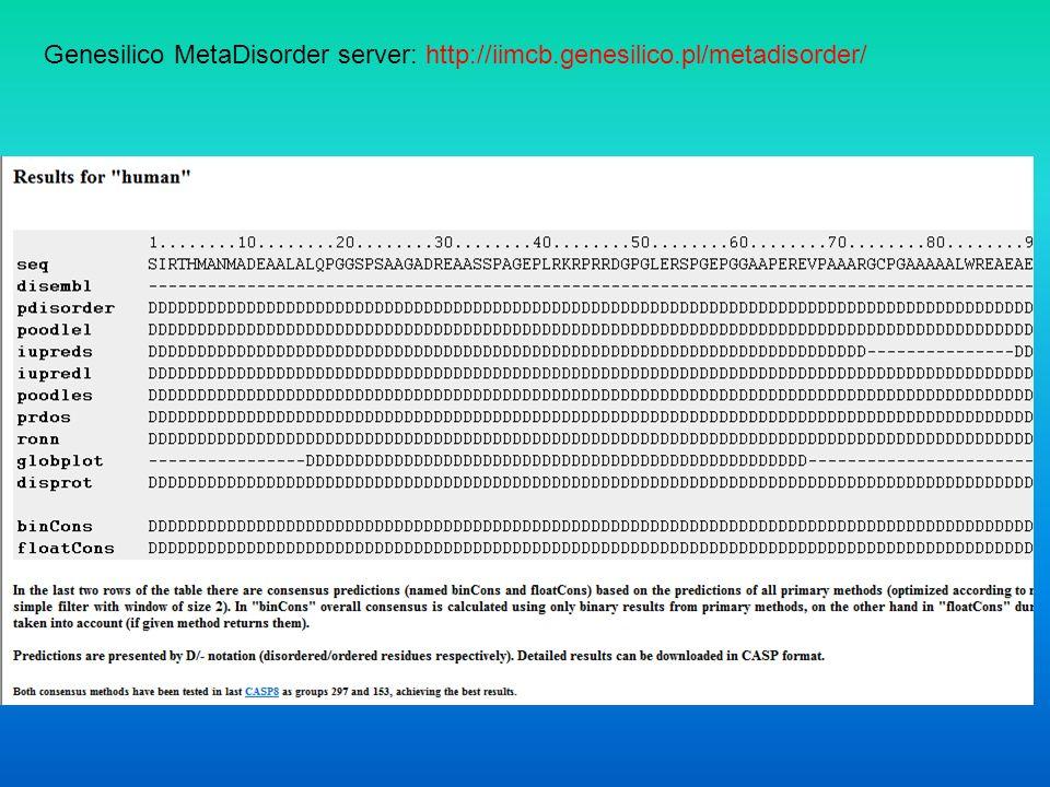 Genesilico MetaDisorder server: http://iimcb. genesilico