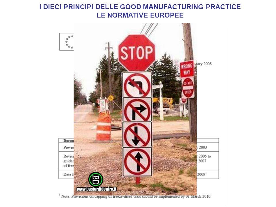 I DIECI PRINCIPI DELLE GOOD MANUFACTURING PRACTICE
