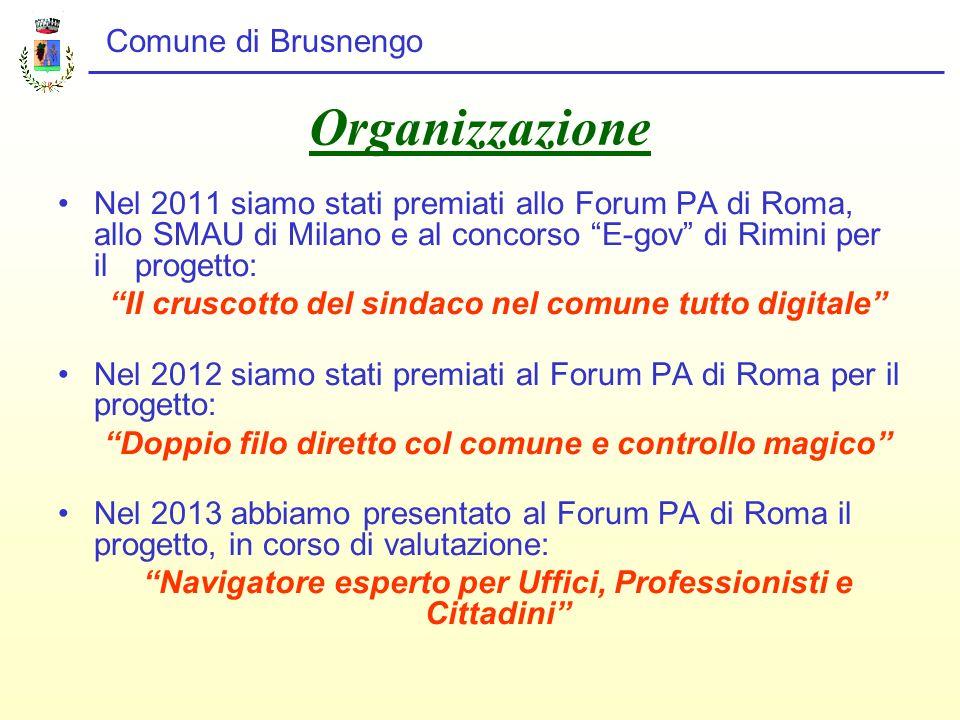 Organizzazione Nel 2011 siamo stati premiati allo Forum PA di Roma, allo SMAU di Milano e al concorso E-gov di Rimini per il progetto: