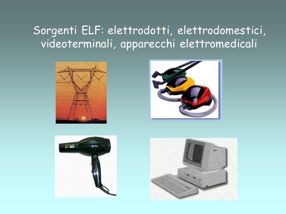 Sorgenti ELF: elettrodotti, elettrodomestici, videoterminali, apparecchi elettromedicali