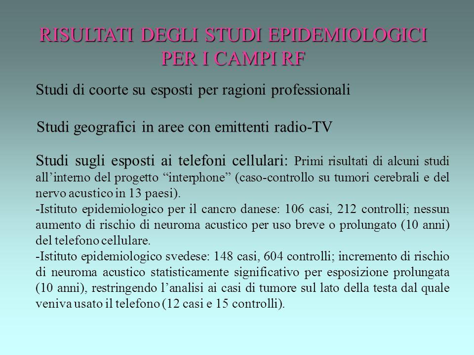 RISULTATI DEGLI STUDI EPIDEMIOLOGICI PER I CAMPI RF