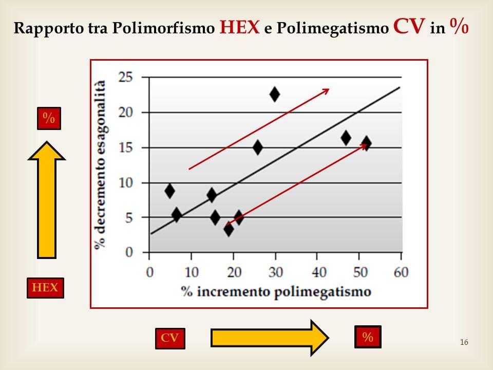Rapporto tra Polimorfismo HEX e Polimegatismo CV in %