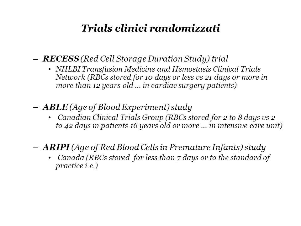 Trials clinici randomizzati