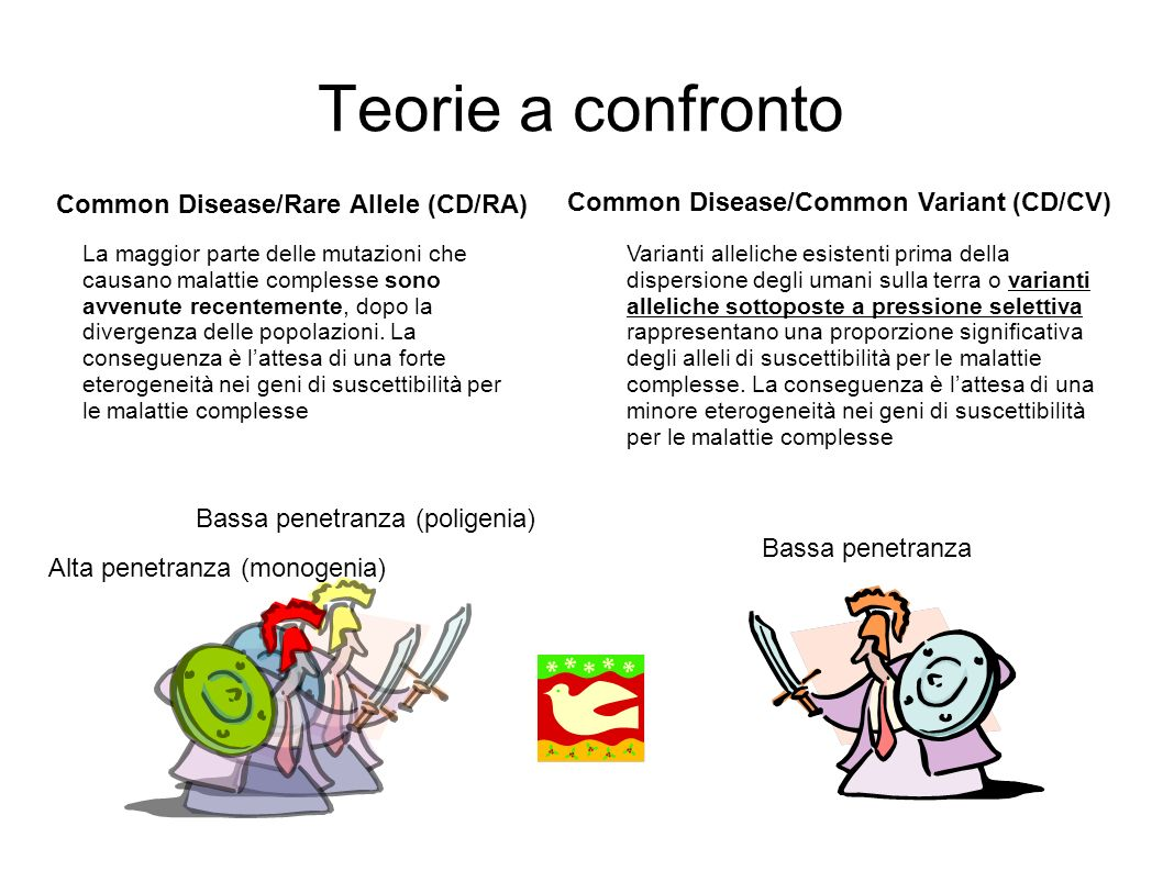 Teorie a confronto Common Disease/Rare Allele (CD/RA)