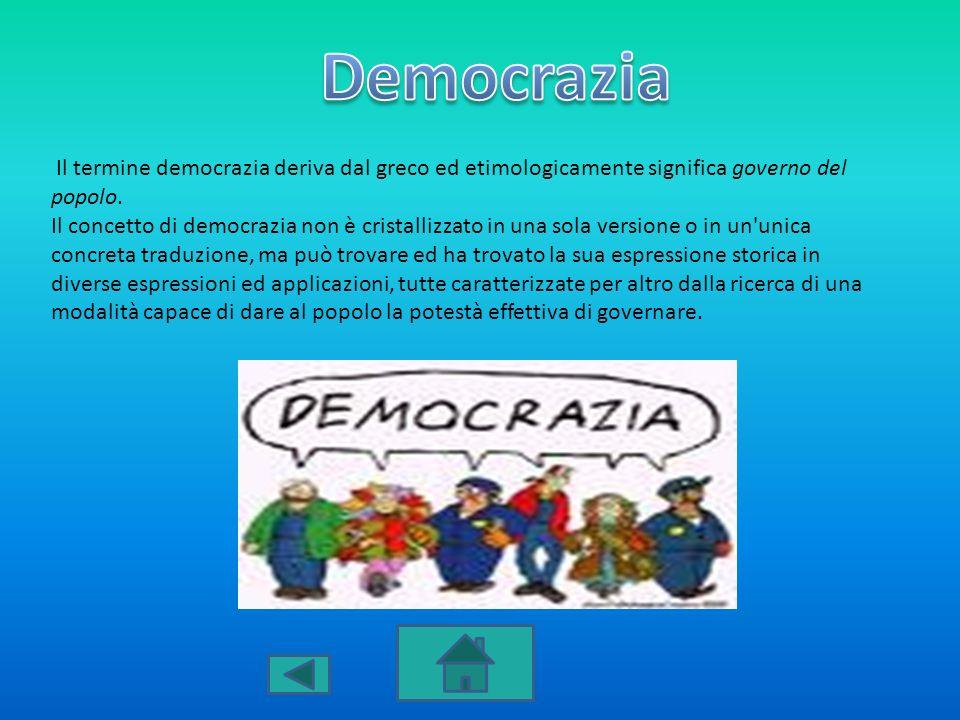 Democrazia Il termine democrazia deriva dal greco ed etimologicamente significa governo del popolo.
