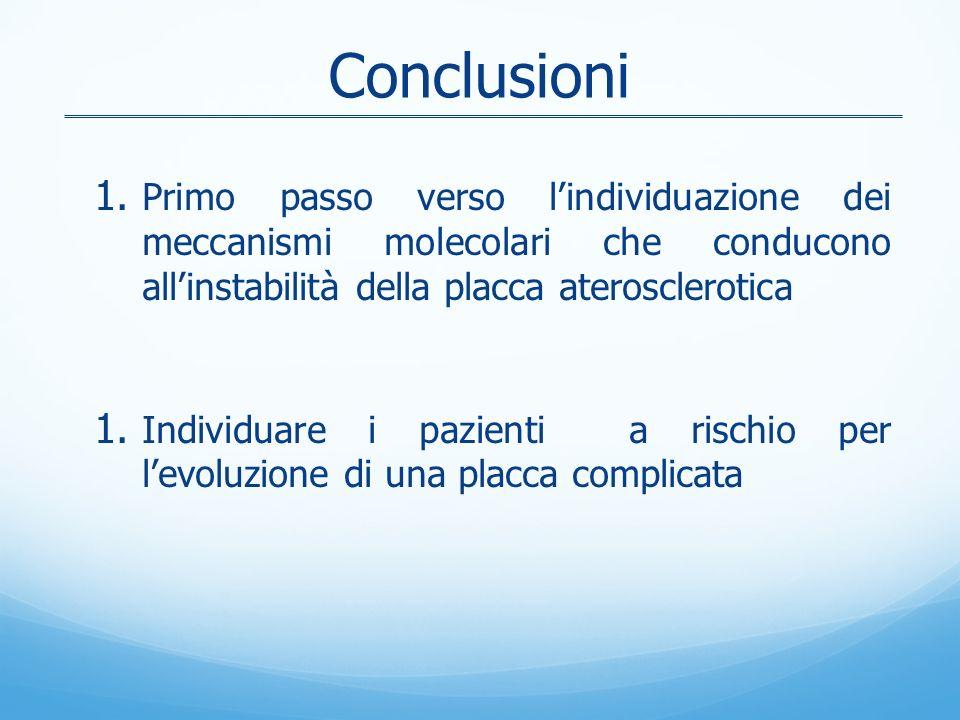 Conclusioni Primo passo verso l'individuazione dei meccanismi molecolari che conducono all'instabilità della placca aterosclerotica.
