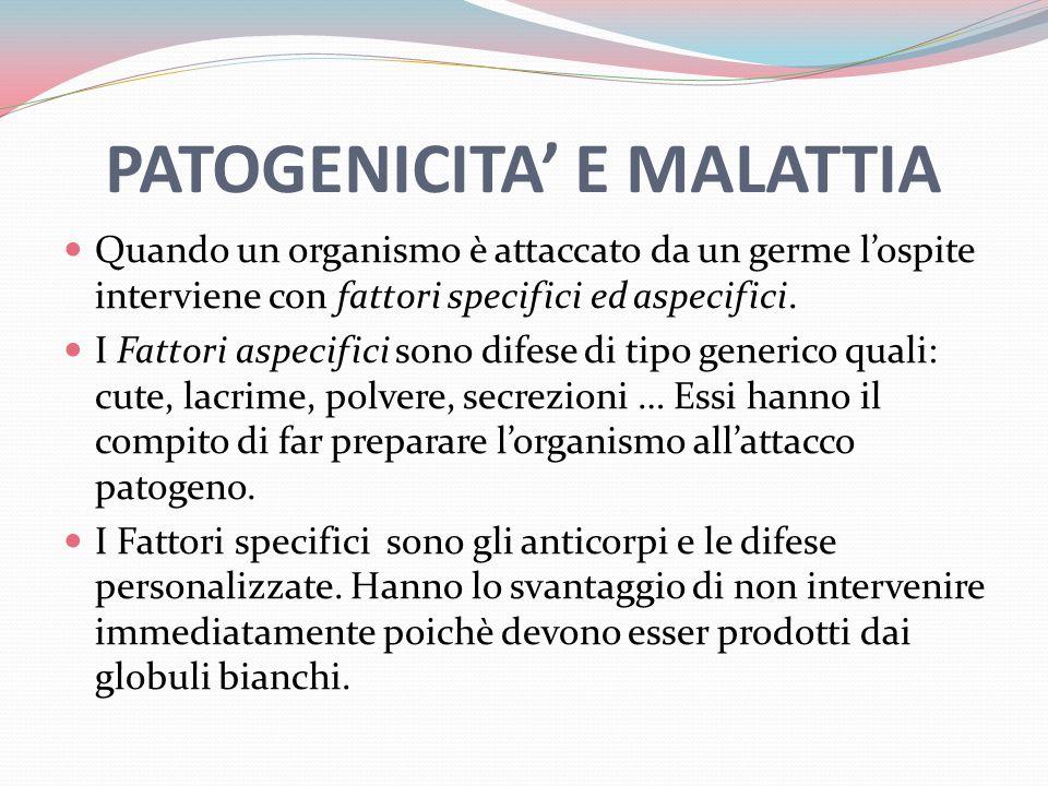 PATOGENICITA' E MALATTIA