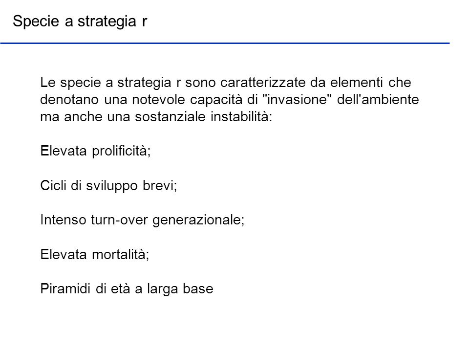 Specie a strategia r
