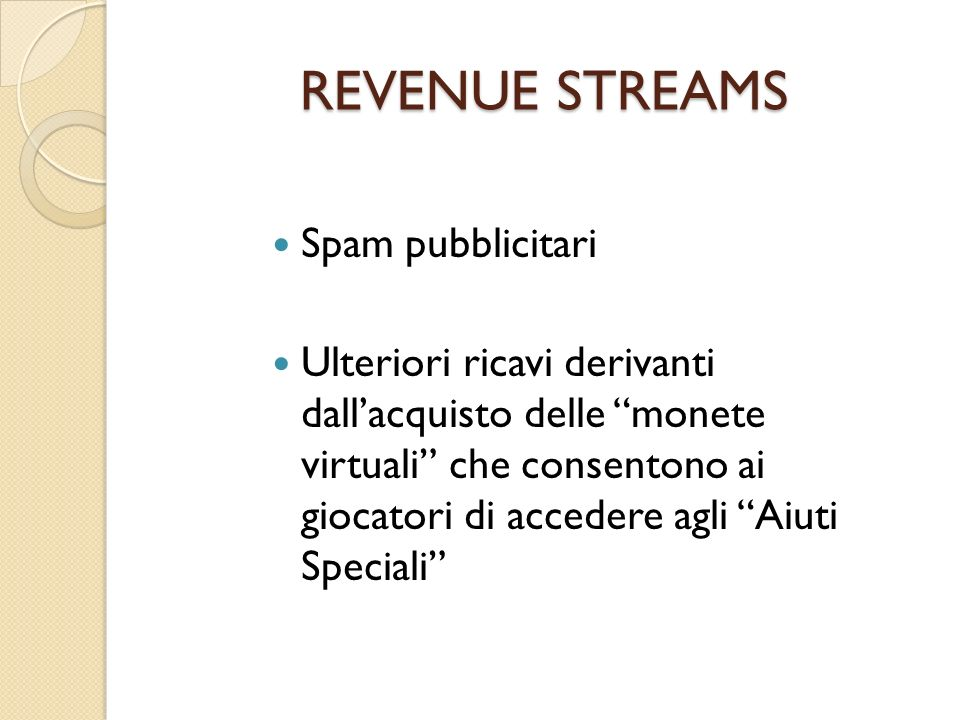 REVENUE STREAMS Spam pubblicitari