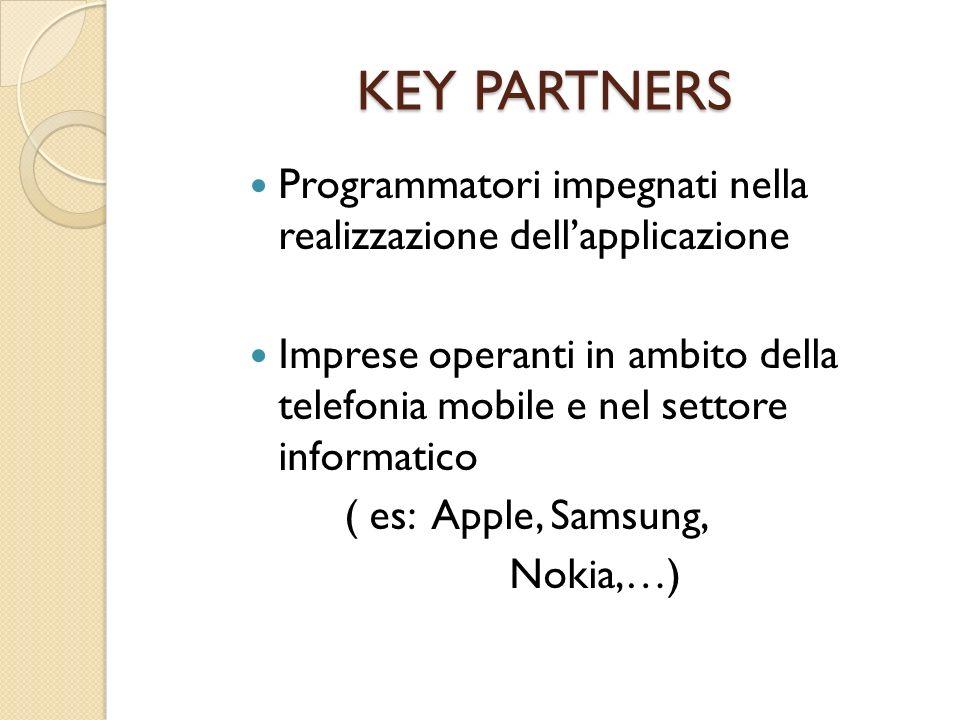 KEY PARTNERS Programmatori impegnati nella realizzazione dell'applicazione.