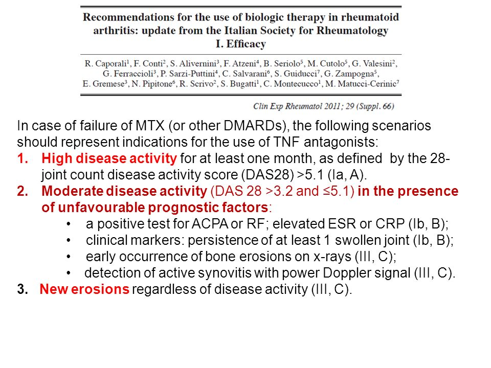 In case of failure of MTX (or other DMARDs), the following scenarios should represent indications for the use of TNF antagonists: