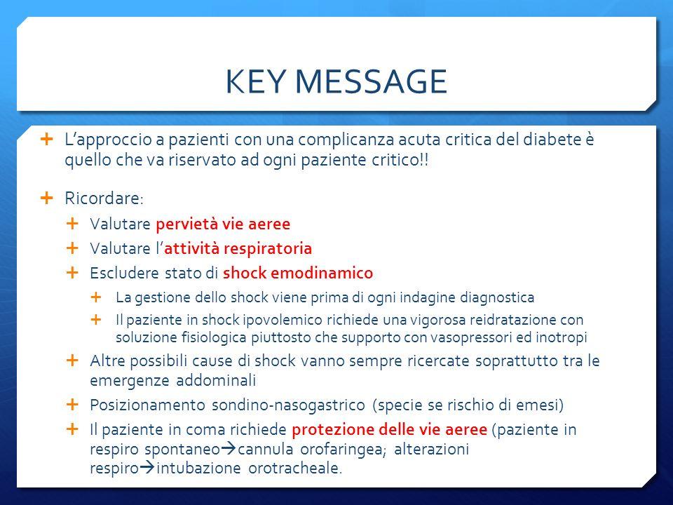 KEY MESSAGE L'approccio a pazienti con una complicanza acuta critica del diabete è quello che va riservato ad ogni paziente critico!!