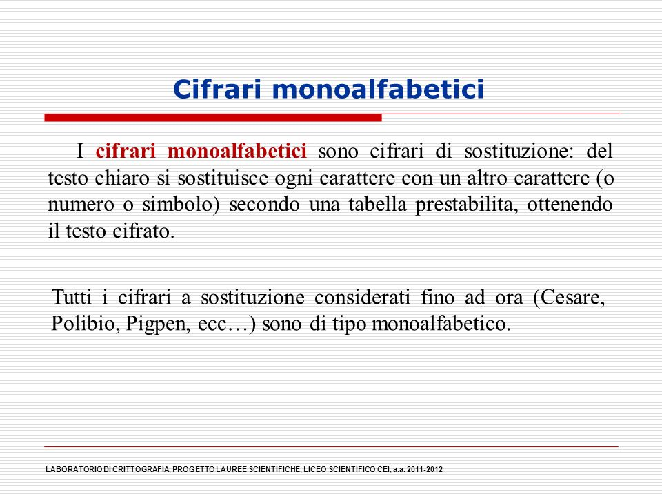 Cifrari monoalfabetici