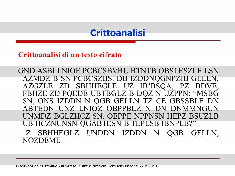 Crittoanalisi Crittoanalisi di un testo cifrato