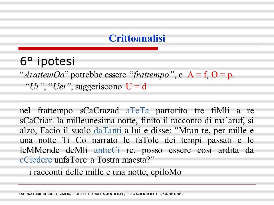 6° ipotesi Crittoanalisi