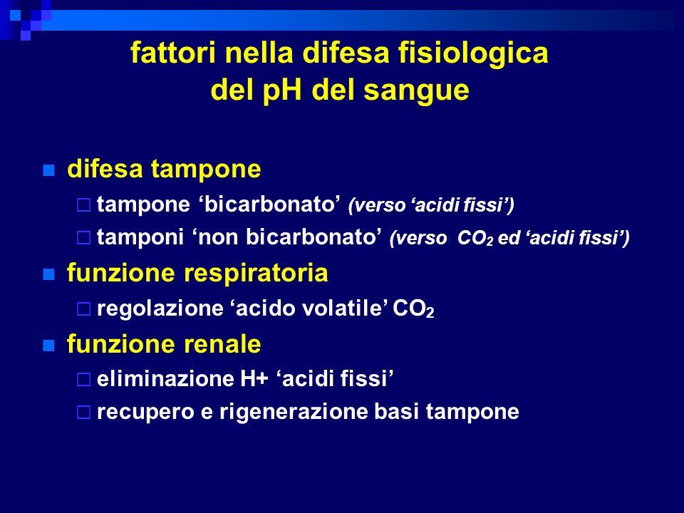 fattori nella difesa fisiologica del pH del sangue