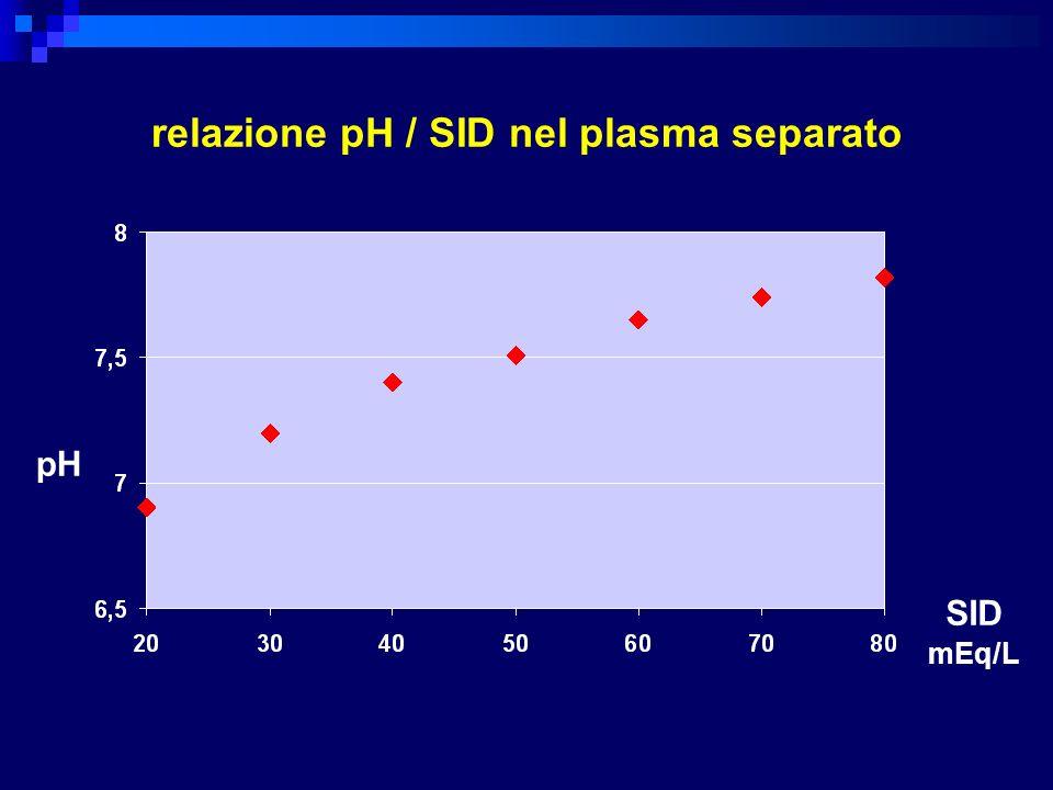 relazione pH / SID nel plasma separato
