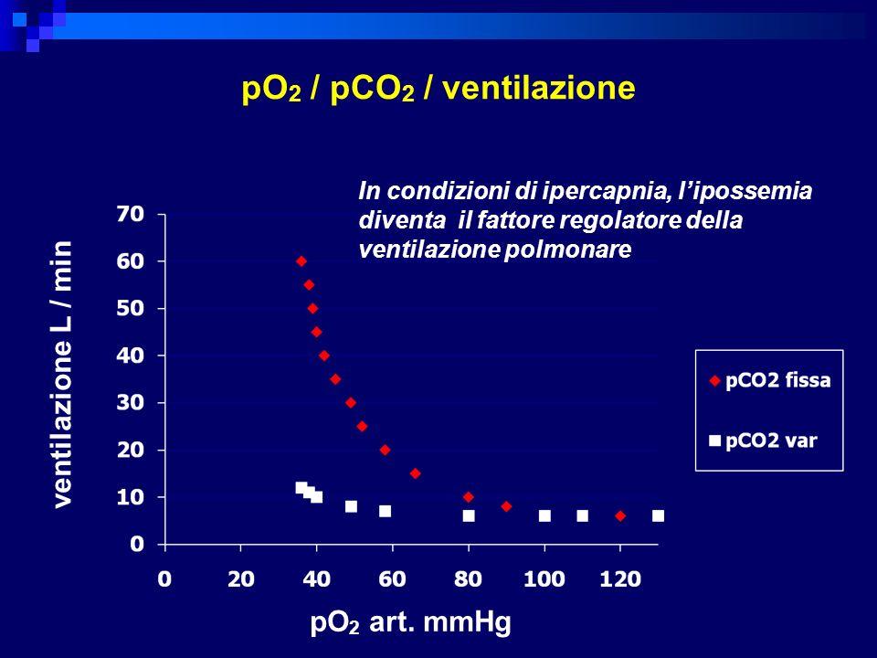 pO2 / pCO2 / ventilazione ventilazione L / min L/min pO2 mmHg