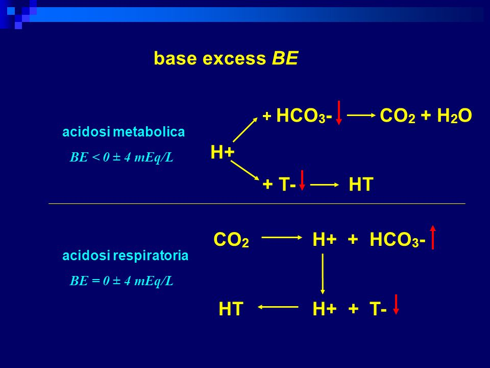 base excess BE + T- HT H+ CO2 H+ + HCO3- HT H+ + T- + HCO3- CO2 + H2O