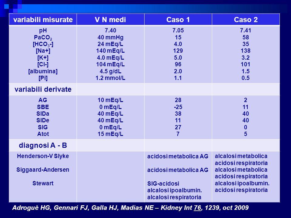 variabili misurate V N medi Caso 1 Caso 2 variabili derivate