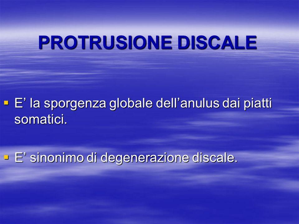 PROTRUSIONE DISCALE E' la sporgenza globale dell'anulus dai piatti somatici.