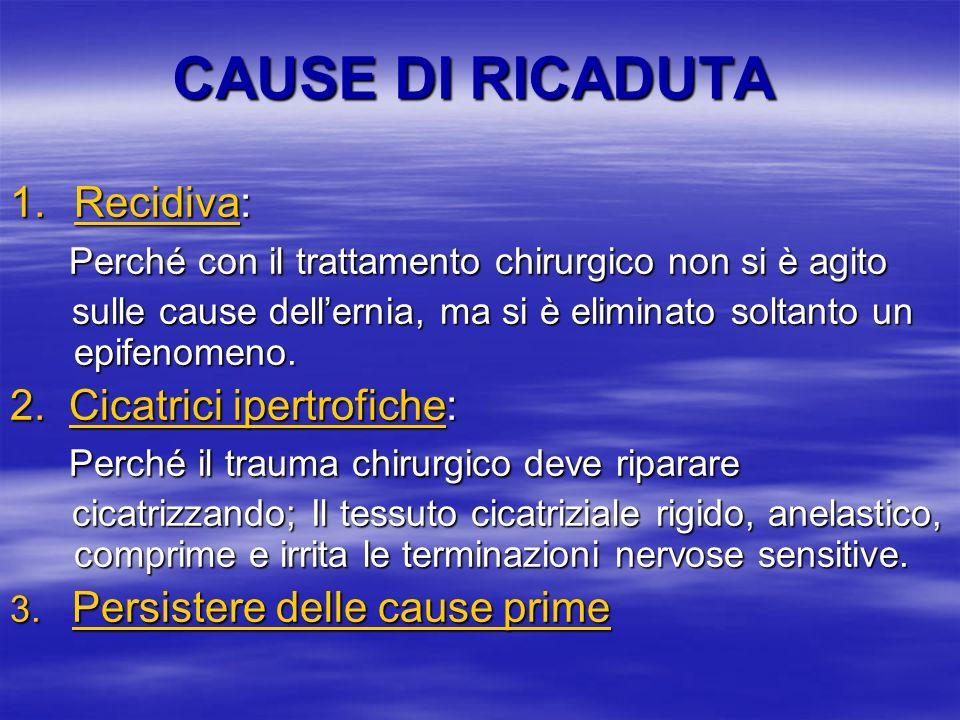 CAUSE DI RICADUTA Recidiva: