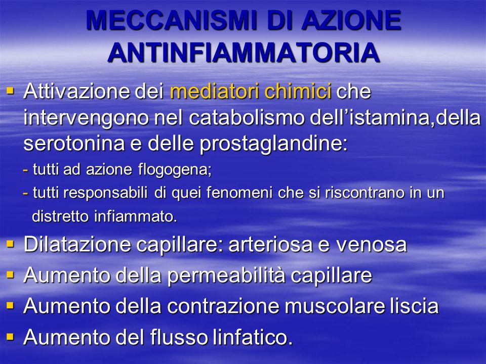 MECCANISMI DI AZIONE ANTINFIAMMATORIA