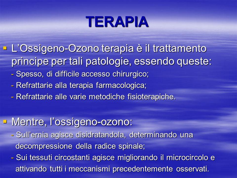TERAPIA L'Ossigeno-Ozono terapia è il trattamento principe per tali patologie, essendo queste: - Spesso, di difficile accesso chirurgico;