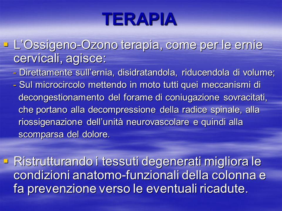 TERAPIA L'Ossigeno-Ozono terapia, come per le ernie cervicali, agisce: