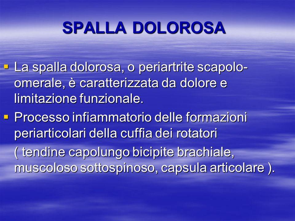 SPALLA DOLOROSA La spalla dolorosa, o periartrite scapolo-omerale, è caratterizzata da dolore e limitazione funzionale.