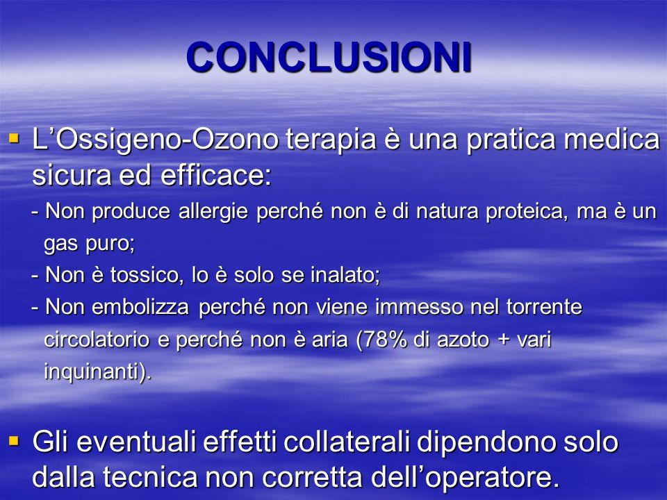 CONCLUSIONI L'Ossigeno-Ozono terapia è una pratica medica sicura ed efficace: - Non produce allergie perché non è di natura proteica, ma è un.