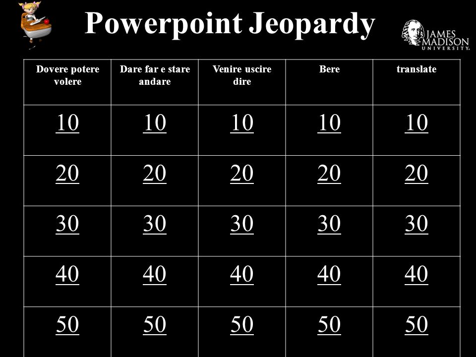 Powerpoint Jeopardy 10 20 30 40 50 Dovere potere volere