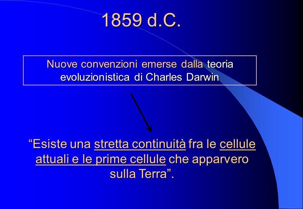 1859 d.C. Nuove convenzioni emerse dalla teoria evoluzionistica di Charles Darwin.