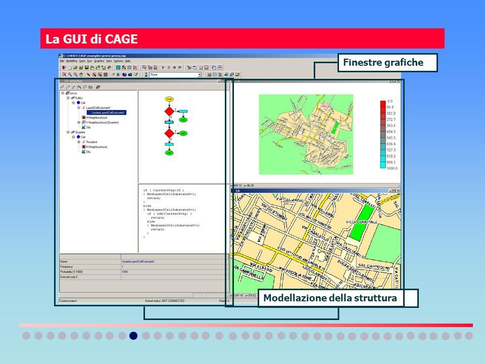La GUI di CAGE Finestre grafiche Modellazione della struttura