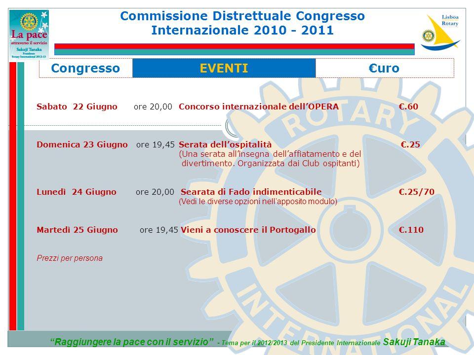 Commissione Distrettuale Congresso Internazionale 2010 - 2011