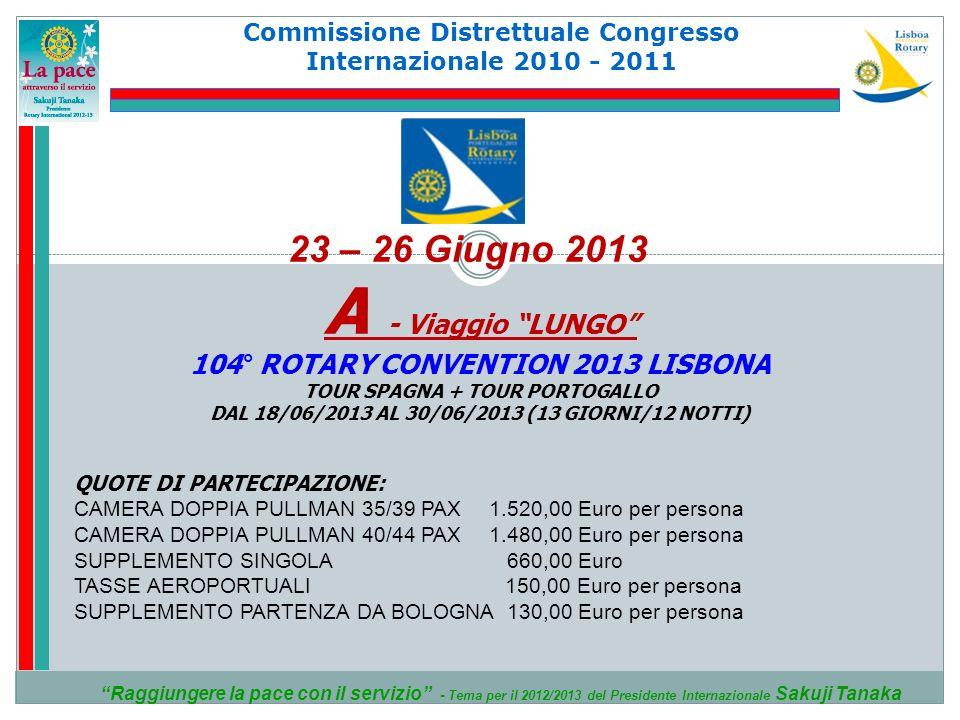A - Viaggio LUNGO 23 – 26 Giugno 2013