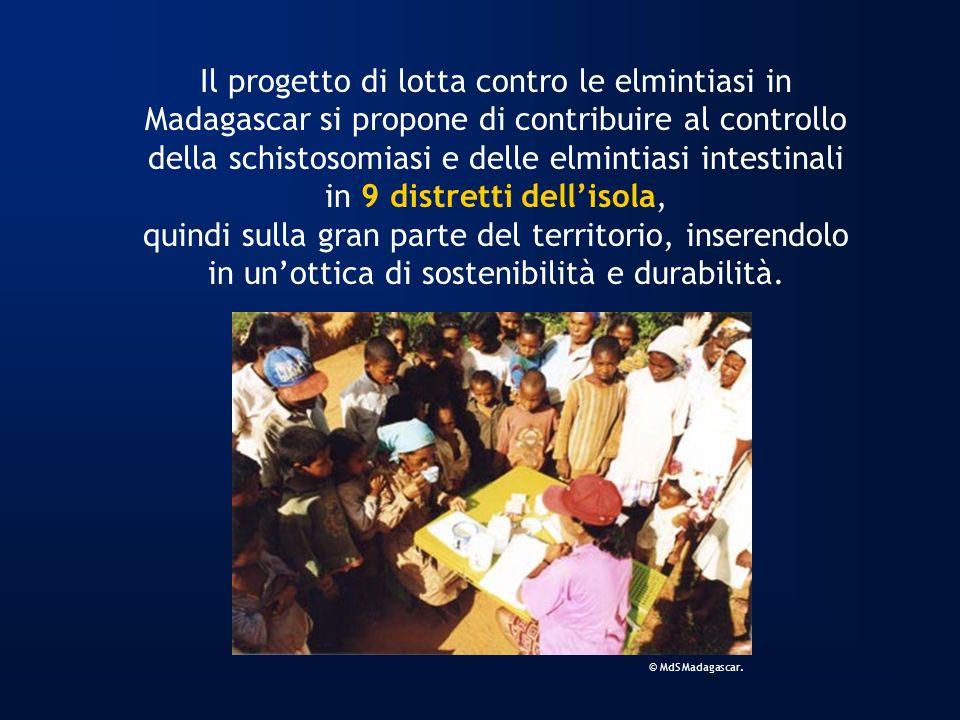 Il progetto di lotta contro le elmintiasi in Madagascar si propone di contribuire al controllo della schistosomiasi e delle elmintiasi intestinali in 9 distretti dell'isola, quindi sulla gran parte del territorio, inserendolo in un'ottica di sostenibilità e durabilità.