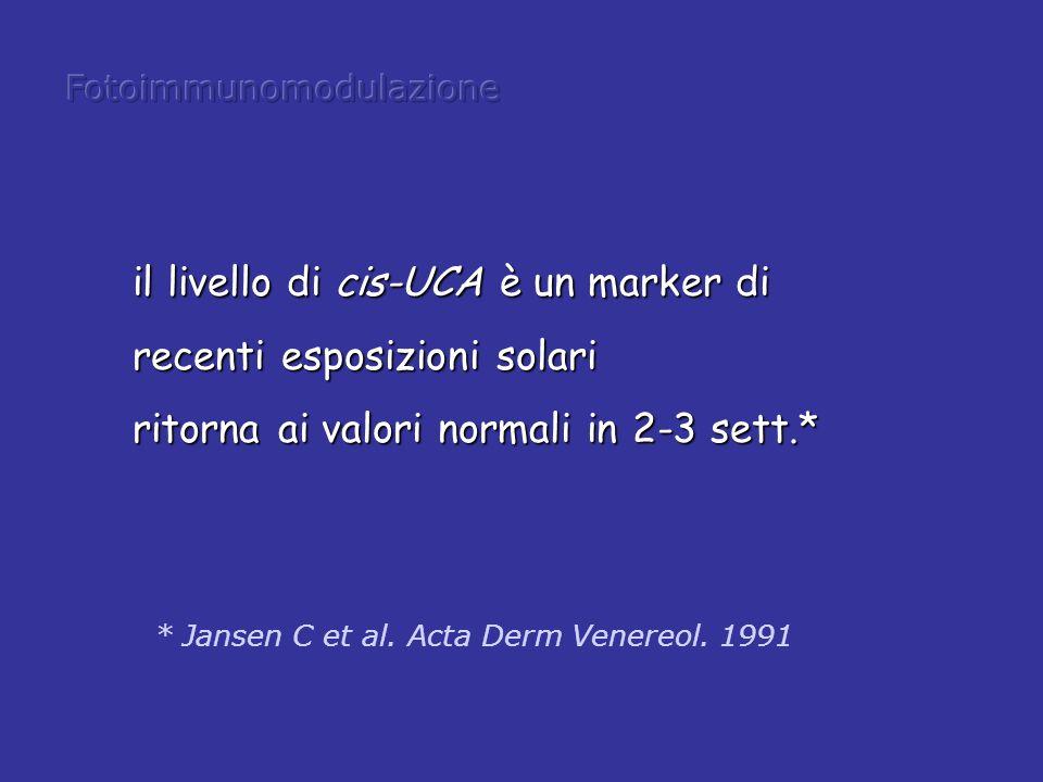 il livello di cis-UCA è un marker di recenti esposizioni solari